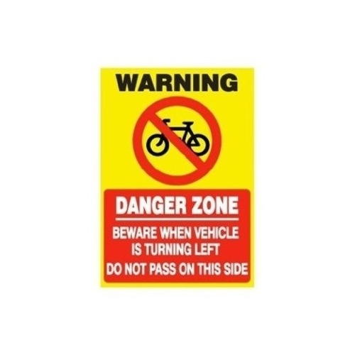CYCLIST DANGER ZONE STICKER
