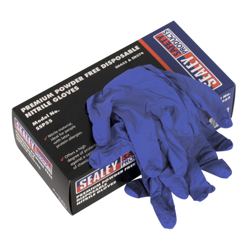 NITRILE DISPOSABLE GLOVES LARGE - PACK OF 100 - POWDER FREE