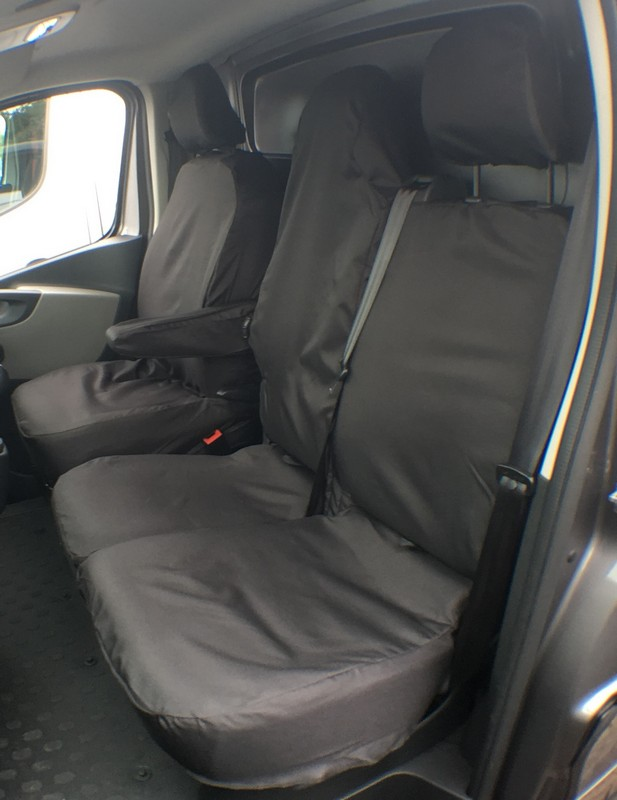 TRAFFIC VIVARO FOLDING DOUBLE PASSENGER SEAT COVER (2014 ONWARDS)- BLACK