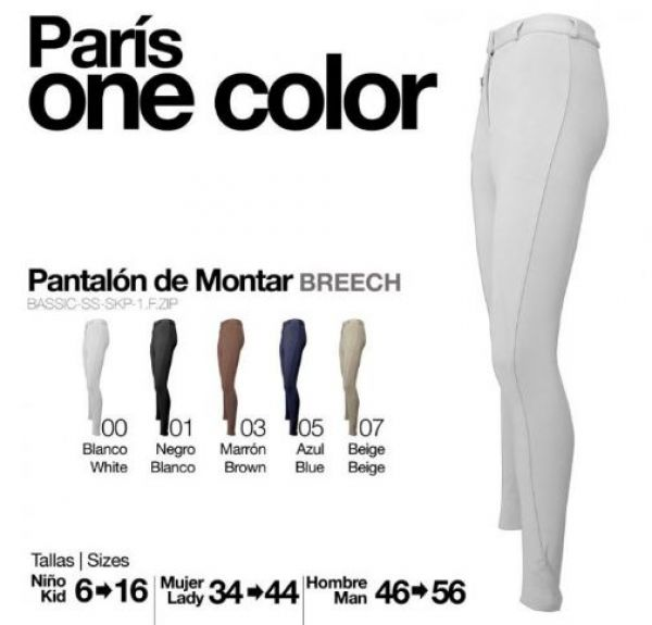 Pantalon de equitacion Paris one color Zaldi (hombre)-de Hipisur