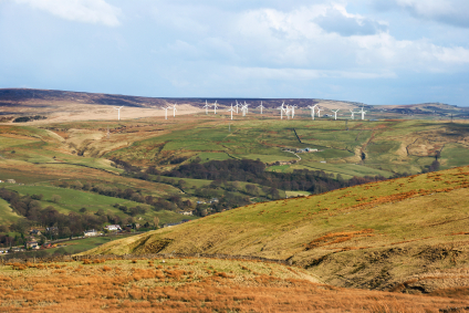 Renewable energy wind farm in the Pennines, Lancashire, England