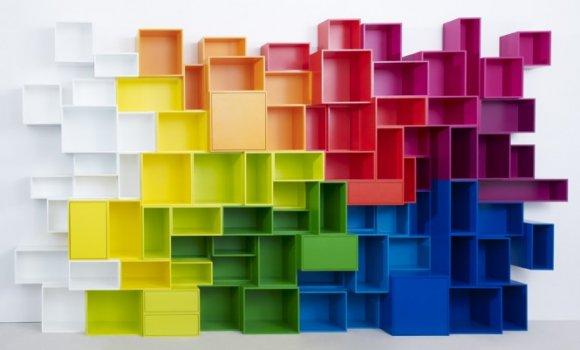 libreria cubetti multicolor