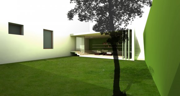 The extension of the existing house is a living room with a roof garden on the top and a large glazed wall that looks towards a green patio. The glazed wall can be completely closed or opened according to the different needs: in wintertime it helps to absorb solar heat while in summertime it can be completely opened to strengthen the relationship between interior and exterior.