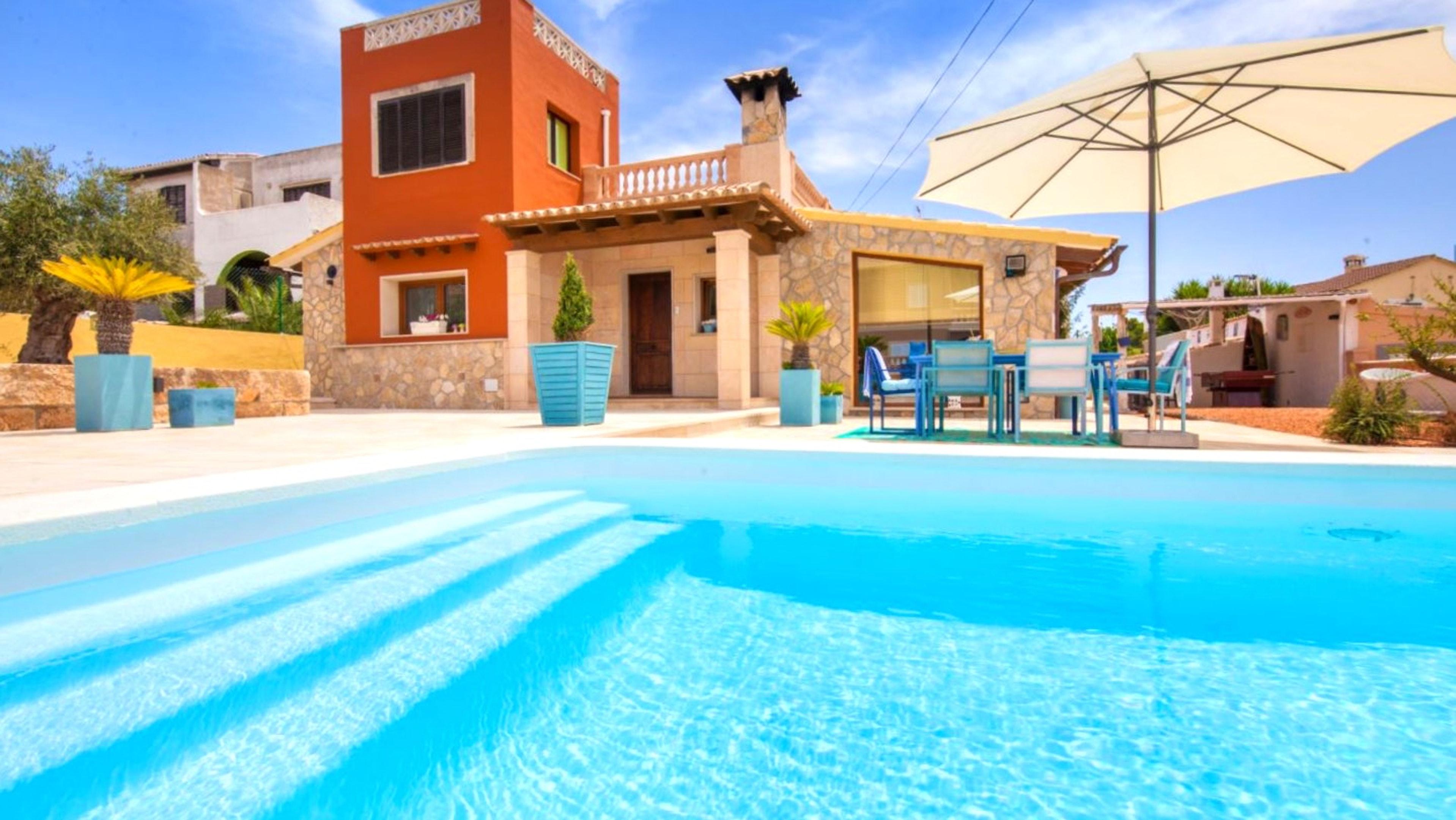 Villa mit 3 Schlafzimmern in Llucmajor mit herrlichem Meerblick privatem Pool eingezäuntem Garten