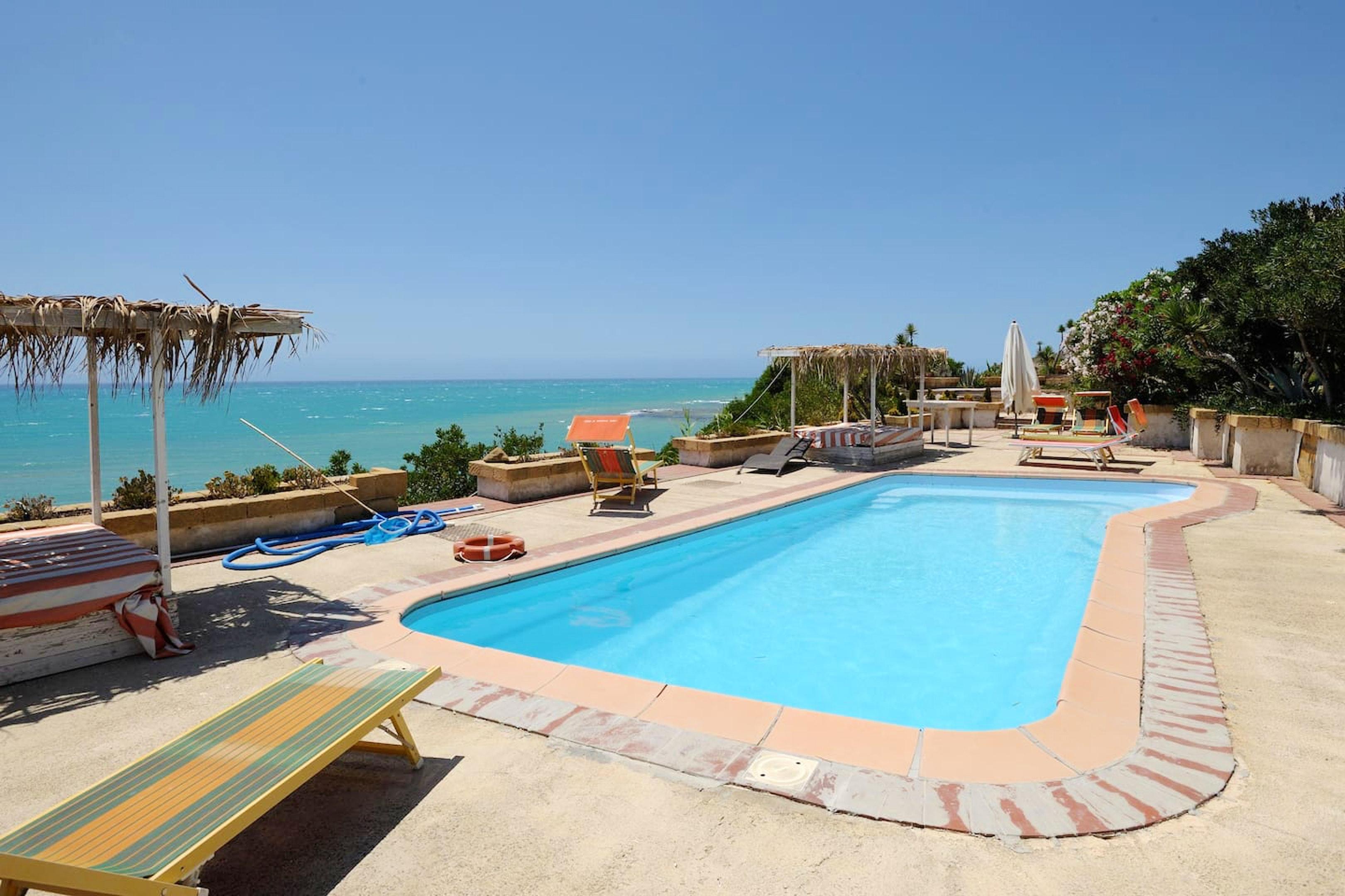 Wohnung mit einem Schlafzimmer in Realmonte mit herrlichem Meerblick Pool möblierter Terrasse 200 m vom Strand entfernt