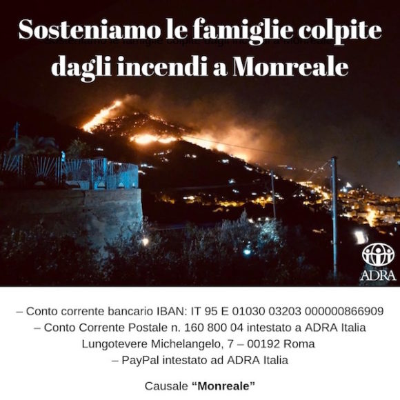 Incendi in Sicilia. Tre famiglie rimaste senza casa a Monreale
