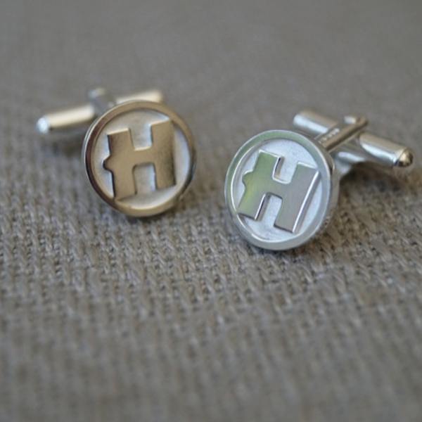 "Hospital Records – Hand Made Solid Silver ""H"" Cufflinks"