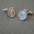 "Hand Made Solid Silver ""H"" Cufflinks"