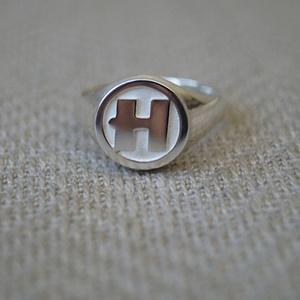"Hand Made Solid Silver ""H"" Signet Ring"