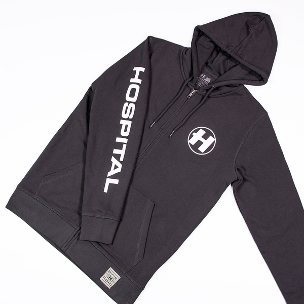 Hospital Records – Essential Zipped Hood - Grey