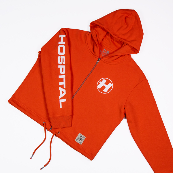 Hospital Records – Essentials Crop Hood - Tangerine