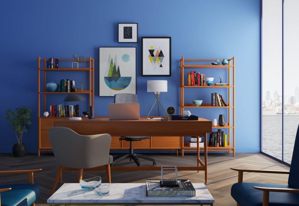 Imbiancare studio in blu