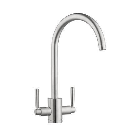 Lamona Brushed Steel Effect Garda swan neck monobloc tap