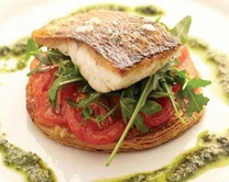 Seared fillet of seabass with tomato tart