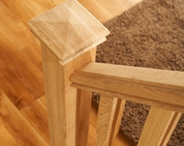 Oak square newel post with cap