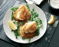 Pan roast monkfish with spring onion potato cakes