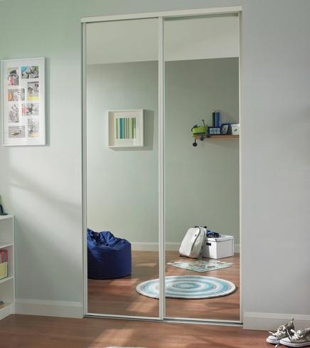 White edge mirror door