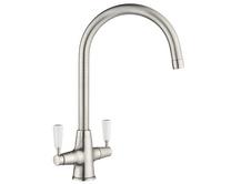 Lamona Brushed Steel Effect Victorian swan neck monobloc tap