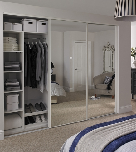 White Edge Mirror Door on bathroom designs for small space