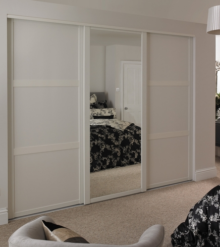 White Shaker panel door and White Shaker mirror door