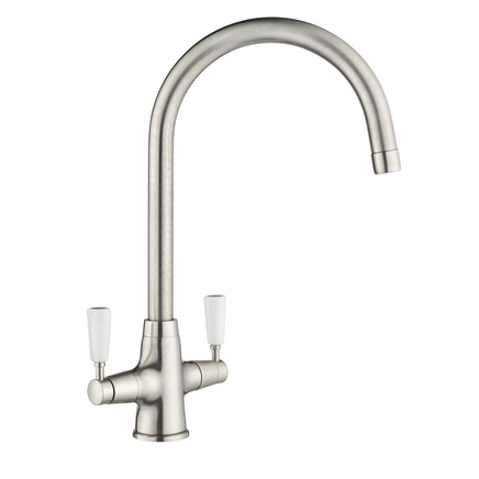 Lamona Brushed Steel Effect Victorian swan neck monobloc tap