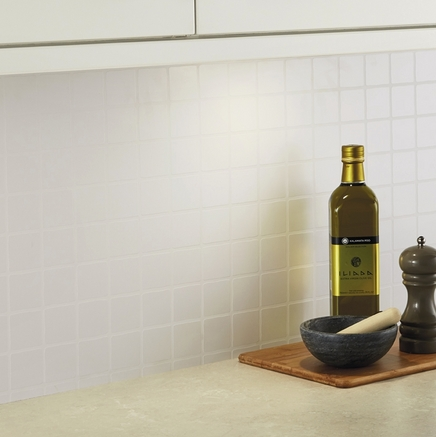 White Tile Effect Backboard Kitchen Worktop Backboards