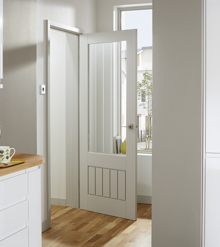 Primed Dordogne glazed door & Primed Internal Doors | Internal Stile and Rail Doors | Howdens Joinery