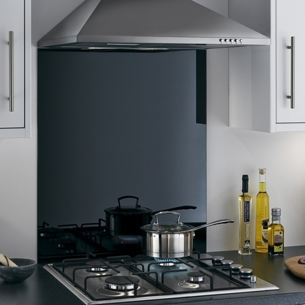 Toughened Black coloured glass splashback