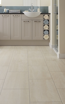 Howdens Professional Fast Fit V Groove Light Travertine tile