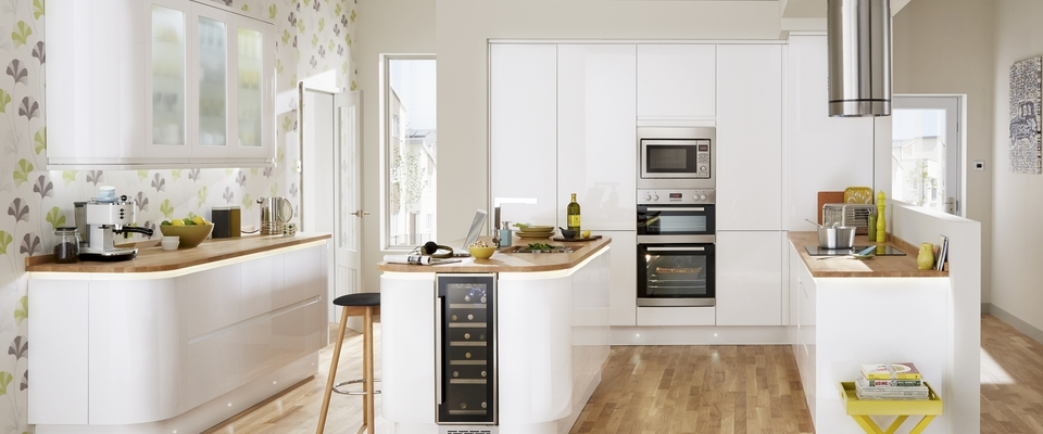 Gloss White Integrated Handle Kitchen Range Kitchen