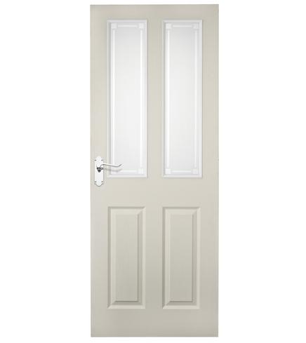 4 Panel grained 2 light glazed door