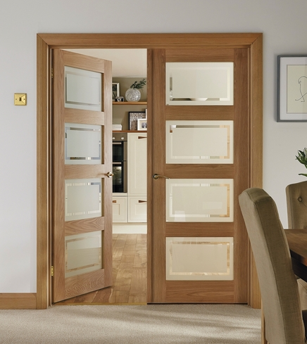 4 Panel Oak Shaker glazed door & 4 Panel Oak Shaker Glazed Door | Howdens Joinery