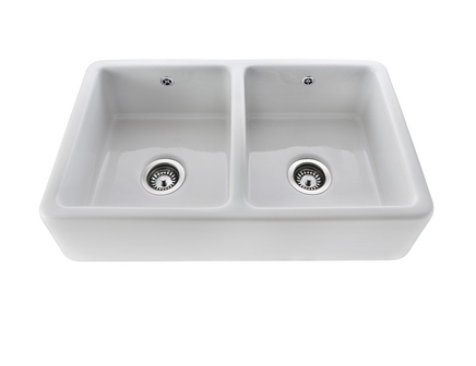 lamona white ceramic double belfast sink - Double Ceramic Kitchen Sink