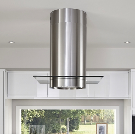 Lamona Stainless Steel cylinder island extractor with 60cm glass