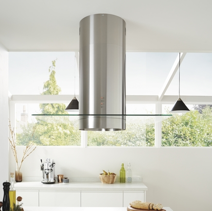 Lamona Stainless Steel cylinder island extractor with 90cm glass