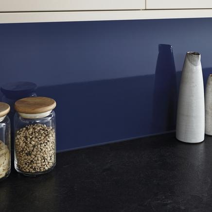 Gloss Dark Blue coloured backboard