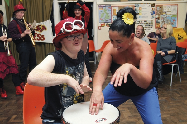 Playing the drums at YouthAbility