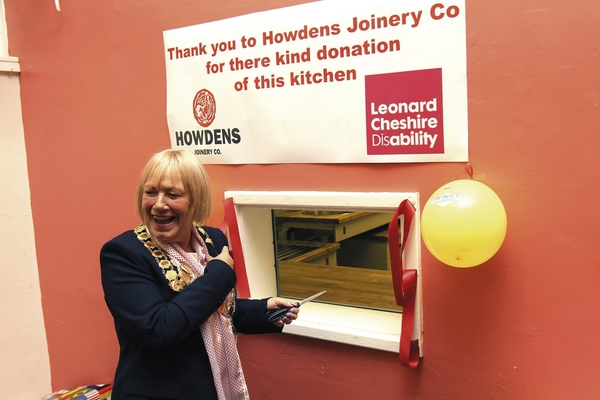 The Mayoress opening the new kitchen