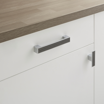 Dark Grey Wood and Chrome Effect Handles