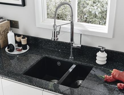 Lamona Black granite composite inset/undermount 1.5 bowl sink