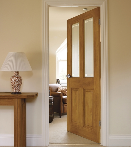 4 Panel Clear Pine 2 Light Glazed Door