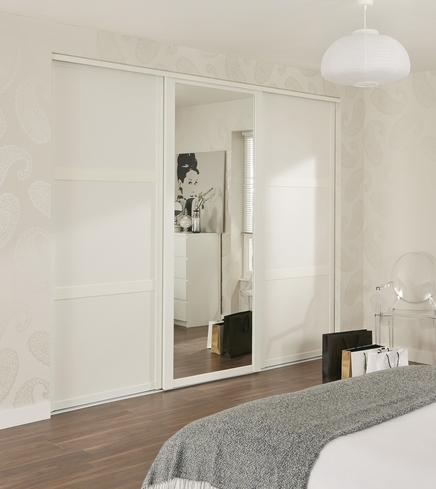 White Shaker Panel Amp Mirror Door Sliding Wardrobe Doors