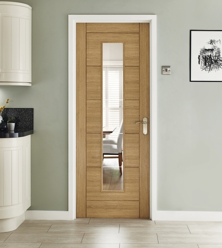 linear oak glazed door howdens joinery. Black Bedroom Furniture Sets. Home Design Ideas