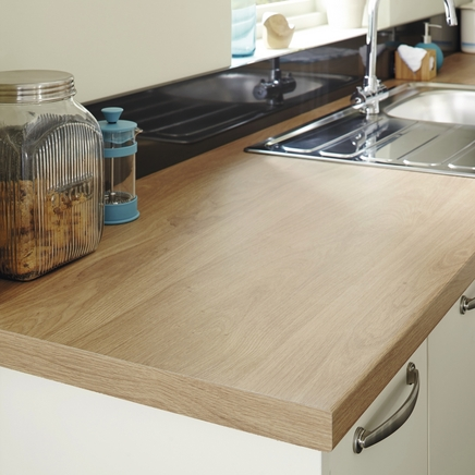 Bullnose Matt Laminate Oak Effect Worktop 600mm Howdens