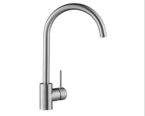 Lamona Brushed Steel Effect Alvo swan neck single lever tap
