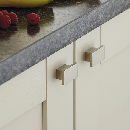 Brushed Steel Effect square knob handle