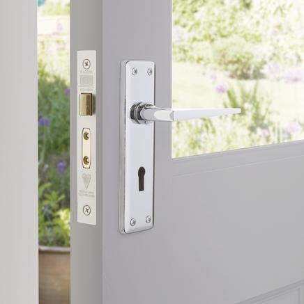 Lugano Chrome lock door handle