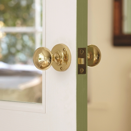 Brass mortice knob door handle