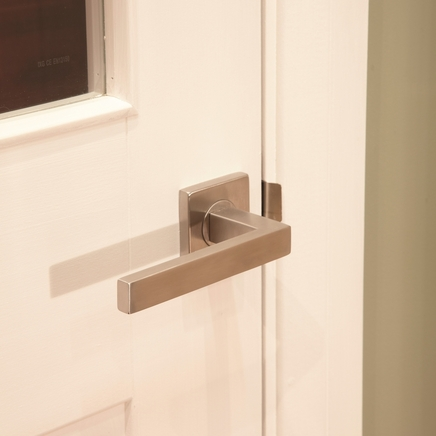 Burford Brushed Stainless Steel Square Rose door handle