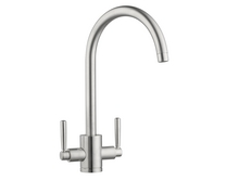Lamona Brushed Steel Effect Garda swan neck monobloc tap